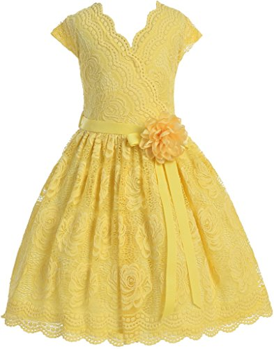Little Girl Cap Sleeve V Neck Flower Border Stretch Lace Corsage Belt Flower Girl Dress (20JK66S) Yellow 6