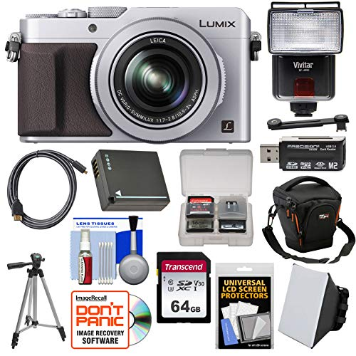 Panasonic Lumix DMC-LX100 4K Wi-Fi Digital Camera (Silver) with 64GB Card + Case + Flash & Soft Box + Battery + Tripod + Kit (Panasonic Lumix Dmc Lx100 Digital Camera Silver)