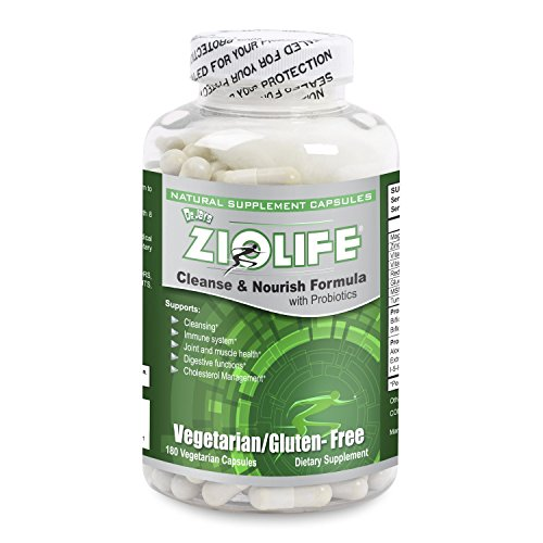 Dr. Jay's Ziolife Cleanse & Nourish Formula with Probiotics - 180 caps - Hyaluronic Acid, Flaxseed Powder, Phytosterols Psyllium Husk, Ginger Root Extract, Prune Juice Powder & Slippery Elm
