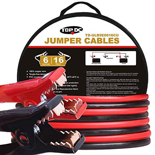 TOPDC 100% Copper Jumper Cables 6 Gauge 16 Feet 450Amp Heavy Duty Booster Cables with Carry Bag and Safety Gloves (6AWG x 16Ft)
