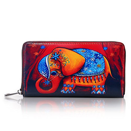 Fox APHISONUK Zipper Painting Designer Cowhide Leather Gift 1346 Holder Women's red Red Purse Wallets Box Clutch Elephant Card qZ4pZr