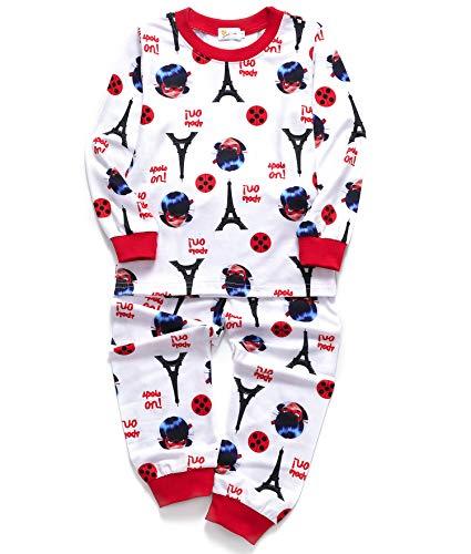 DHASIUE Cartoon Girls Pajamas Cotton Long Pajama Set Little Kids Sleepwear Clothes Size 2-7 Years (3-4 Years, 16 White (Cool Girl))