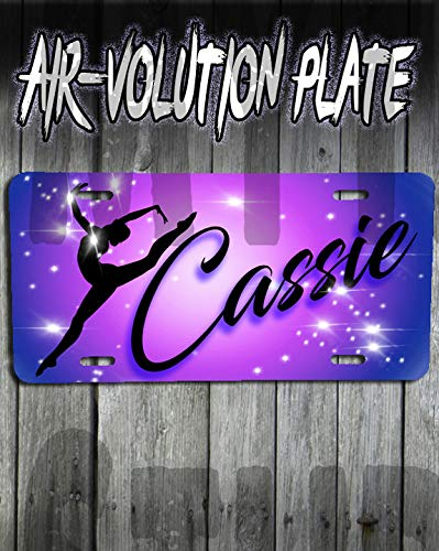 Plate Cheerleader Girl (Personalized Airbrush Dancer License Plate Tag)
