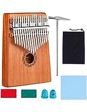 Kalimba thumb piano 17 key thumb piano, met pocket tuning hamer leerboek sticker, muziekinstrument cultiveren voor muziekliefhebbers kinderen volwassenen beginners (C Tune)
