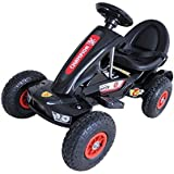 Go-Kart/Racer Ride on Toy Car with Horn Music Black