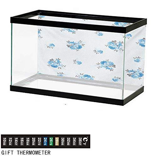- wwwhsl Aquarium Background,Rose,Floral Theme Illustration of Blue Rose Flower Romantic Springtime Design Print,Blue and Grey Fish Tank Backdrop 48