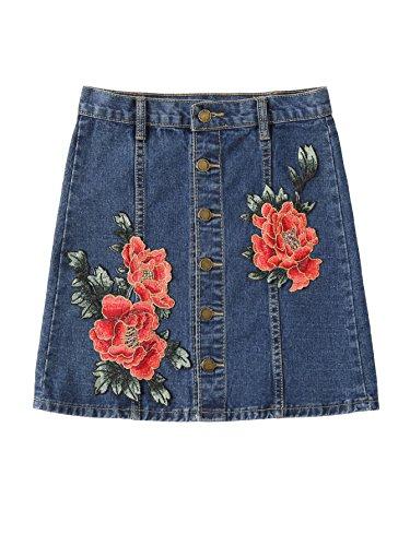(MakeMeChic Women's Button Front Pocket A-line Denim Short Skirt ###Blue M)