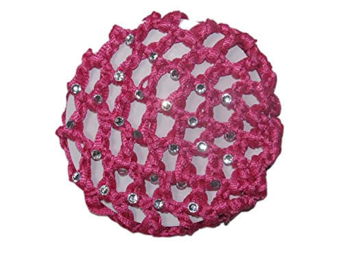 Ballerina Crochet Elastic Buncover W Rhinestones~ Choice of Colors (Fuchsia Color Rhinestone)