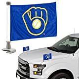 ProMark Milwaukee Brewers 2-Pack Ambassador Style Auto Flag Car Banner Set Baseball