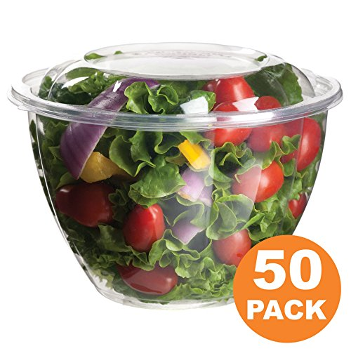 Clear Plastic Bowl With Dome Lids for Salads Fruits Parfaits, 48oz, Disposable, Large Size [50 Pack] (Large Round Clear Bowl)