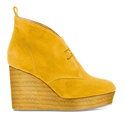 Agnes Chaussures Jaune Suede Castañer Mustard Femme HEaPqwqd