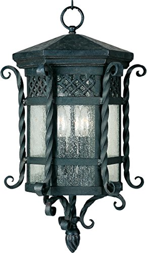(Outdoor Pendant 3 Light Bulb Fixture with Country Forge Finish Forged Iron Material Candelabra Bulbs 11 inch 120 Watts)