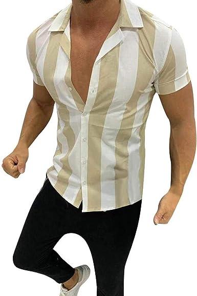 Overdose Camisas Hombre Manga Corta De Vestir Regular Rayas Camisas De Botones Slim Fit Solapa Trend Blusa De Fiesta: Amazon.es: Ropa y accesorios