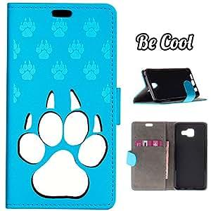 BeCool® - Funda carcasa tipo Libro para Samsung Galaxy A3 2016 protege tu Smartphone ya que se adapta a la perfección, tiene Función Soporte, ranuras para tus tarjetas y billetes sin olvidar nuestro exclusivo diseño Azul Dog footprints Azul