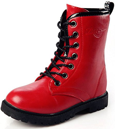 DADAWEN Boy's Girl's Waterproof Outdoor Combat Lace-Up Side Zipper Mid Calf Boots Red US Size 5 M Big Kid