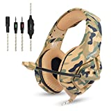 ONIKUMA PS4 Wired Chat Headset, ONIKUMA K1-B Camouflage Stereo Gaming Headphones