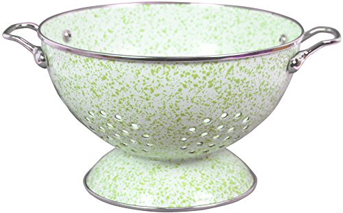 Powder Coated Colander - Calypso Basics by Reston Lloyd Powder Coated Enameled Colander, 3 quart, Lime and White Marble