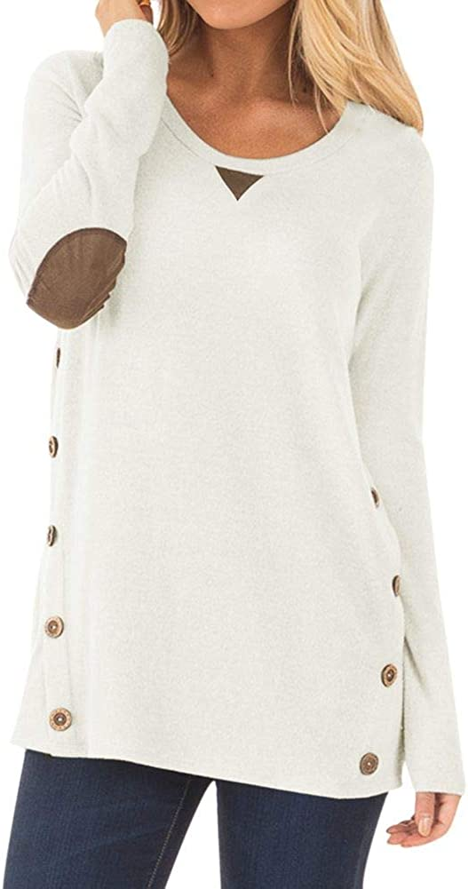 Spadehill Women Long Sleeve Shirt with Faux Suede Elbow Patches and Button