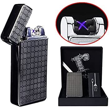 Black Plasma lighter Gift Box Double arc lighter Rechargeable electric lighter cool lighter...