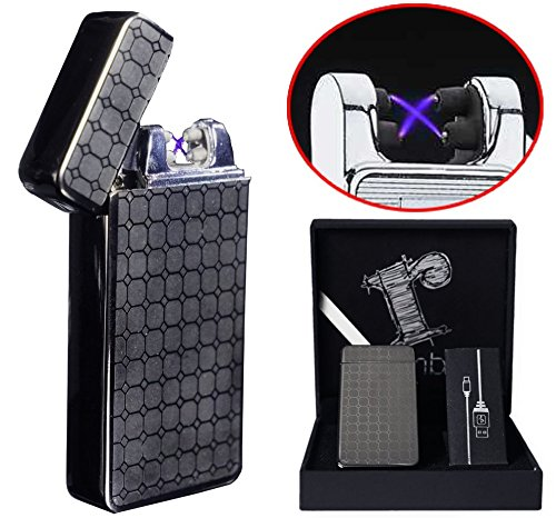 Black Plasma lighter Gift Box Double arc lighter Rechargeable electric lighter cool lighter Windproof tesla coil lighter usb lighter survival camping Cool Unique Christmas Gift idea for dad men him