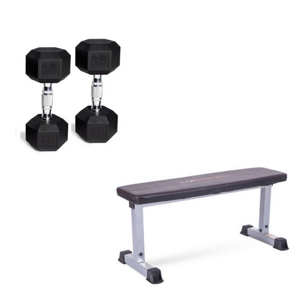 CAP Strength Flat Bench Compact Steel Construction & Rubber Barbell Set Coated Hex Dumbbells, 20 Lb Pair (40 Lbs Total) Bench Dimensions 46.5''L x 18''W x 19''H