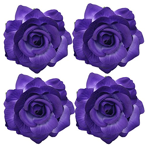 (Sanrich 4pcs/pack Fabric Rose Hair Flowers Clips Mexican Hair Flowers Hairpin Brooch Hair Accessory Wedding Party Headpieces (puprle))