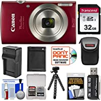 Canon PowerShot Elph 180 Digital Camera (Red) with 32GB...