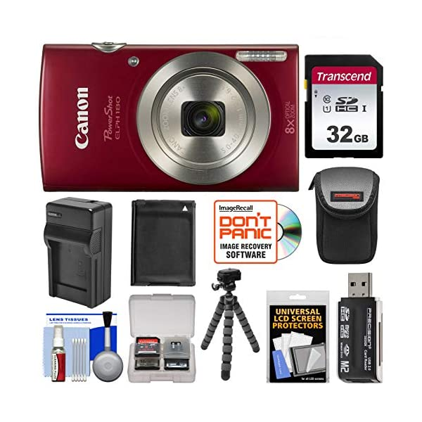 514wrrHk91L. SS600  - Canon PowerShot Elph 180 Digital Camera (Red) with 32GB Card + Battery & Charger + Case + Flex Tripod + Reader + Kit