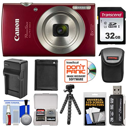 (Canon PowerShot Elph 180 Digital Camera (Red) with 32GB Card + Battery & Charger + Case + Flex Tripod + Reader + Kit)