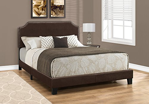 Monarch Specialties I 5927Q Bed Size Leather-Look with Brass Trim, Queen, Brown