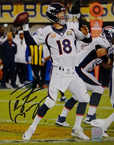 Peyton Manning Hand Signed - Peyton Manning Autographed Denver Broncos 8x10 SB Pass Photo- JSA Auth Black