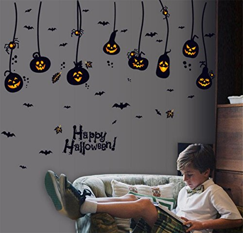 IXIMO Happy Halloween Wall Stickers Removeable Hanging Pumpkin Bats Mura Decor Art Stickers Room Decoration (Create A Banshee Costume For Halloween)