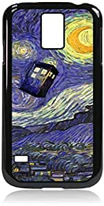 Tardis Van Gogh - Hard Black Plastic Snap - On Case-Galaxy s5 i9600 - Great Quality!