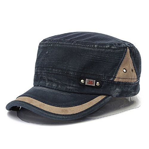 Kyson Unisex Cotton Blend Military Washed Baseball Cap Vintage Army Plain Flat Cadet Hat for Men Women (Blue)
