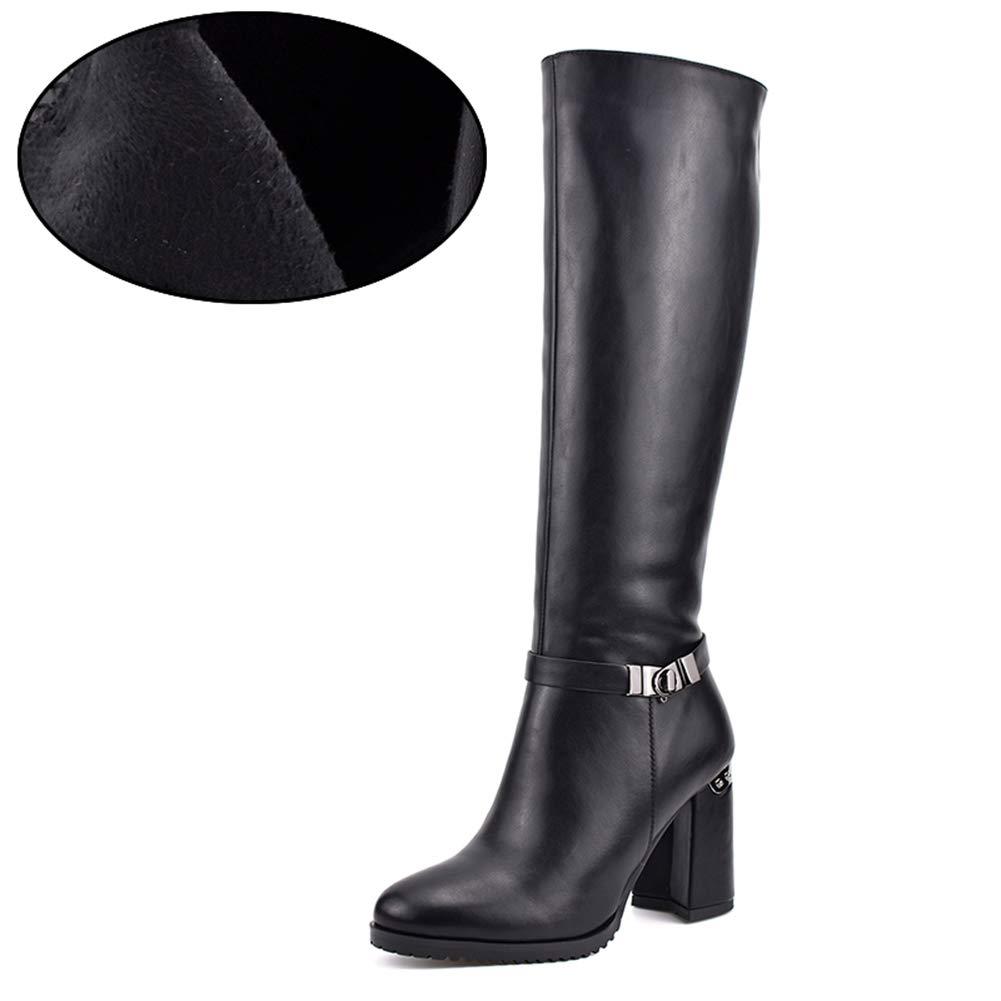 Black Short Plush T-JULY Women's Autumn Winter Thick Plush Warm Knee High Boots Zip Fashion Hoof Heels with Metal Buckle Elegant shoes