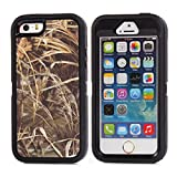 """iPhone 5 5S SE Case, Heavy Duty Tree Camo Defender Series Full-body Protective Hybrid 3-piece Cover Built-in Screen protector Case for Apple iPhone 5/5S/SE 4"""" [Grass Black]"""