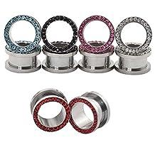 "D&M Jewelry 10pcs Stainless Steel Single Row Gem Screw Back Flesh Tunnel Ear Plug Stretcher Expander Ear Piercing Jewelry 8g-9/16"""