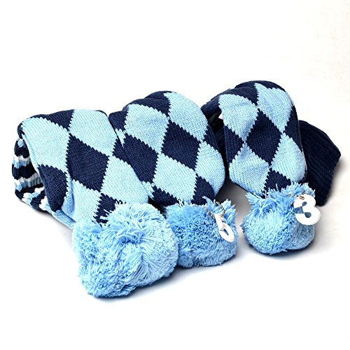 (GOOACTION Drivers, Fairway Woods, Hybrids 3pcs Blue and Black Checkered Pattern Pom Pom Sock Set Vintange Knit Universal Golf Head Covers Fit for All Golf Brands)