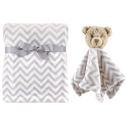 Hudson Baby Unisex Baby Plush Blanket with Security Blanket, Gray Bear 2 Piece, One Size