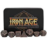 Ancient Copper Polyhedral Metal Dice Set - Set of 7 RPG Dice with Metal Case and Velvet Carrying Bag - by Iron Age