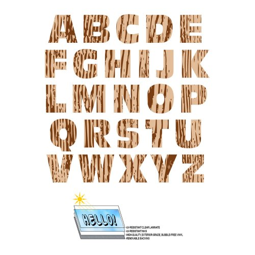 Alphabet Letters Uppercase Wood Grain Trees SLAP-STICKZ(TM) Automotive Car Window Locker Bumper Stickers