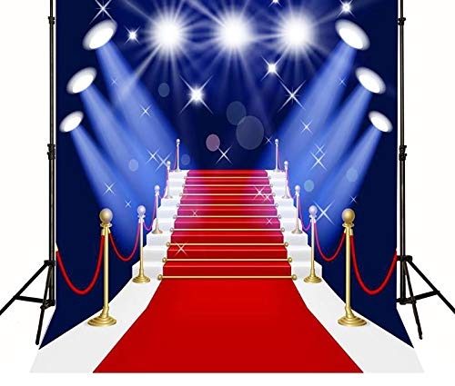 5x7ft Hollywood red carpet Avenue of Stars backdrop High-grade portrait cloth Computer Printed party wedding Backgrounds d-MR-1920 ()