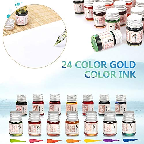 Baost 5ML Colored Calligraphy Ink Writing Painting Drawing Ink Fountain Pen Ink with Glitter Powder Glitter Art Paint Brush Pigment for Graffiti, Oil Painting, Calligraphy F by BaoST (Image #3)