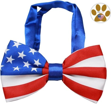 American Flag BOW TIE and Button Pin for pets (Fits Neck 11