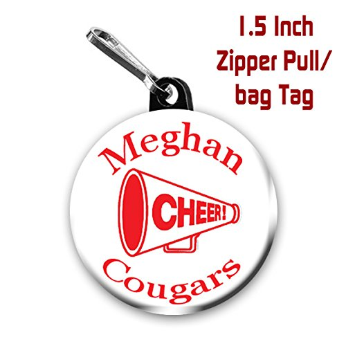 Cheer zipper pull/ bag tags two 1.5 inch charms personalized with name,team name and color Megaphone Bag Tag