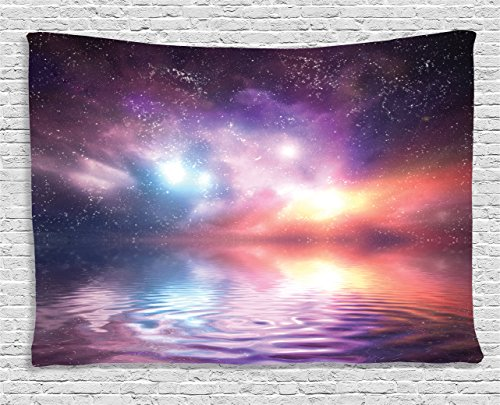 Northern Reflections - Ambesonne Apartment Decor Collection, Ocean under Northern Lights Galaxy Milky Way Mystical Dark Cosmos Reflection Planet Photo, Bedroom Living Room Dorm Wall Hanging Tapestry, 60 X 40 Inches, Purple