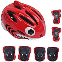 aomigell Kids Helmet Boys Girls Bicycle Helmet Toddler Child Helmet with Knee/Elbow/Wrist Pads for Cycling Scooter Rollerblading - CPSC Certified