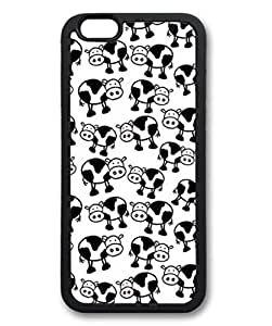 iPhone 6 Plus Case, iCustomonline Cows Black White Abstract Shell Soft Back Case Cover Skin for iPhone 6 Plus 5.5 inch - Black
