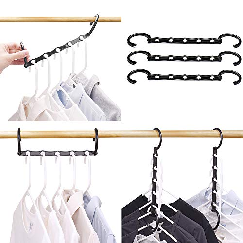 Hanging Cascade - HOUSE DAY Household Mall Pack of 10 Pcs 15 inch Black Magic Hangers Closet Space Saving Wardrobe Clothing Hanger Oragnizer