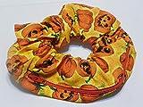 Orange Pumpkin design Handmade Scrunchie Purse w zipper storage Great for Gym Swim Jog